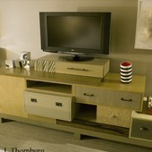 Bureau, freestanding: natural anigre, maple, multi-colored lacquer and metal fla