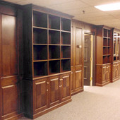 Bookcases and Panelling, built-in: glass, stained red oak with reverse diamond p