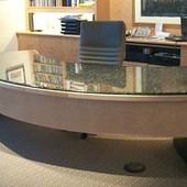 Executive Desk, freestanding: granite, natural birdseye maple.