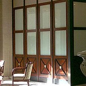 Hotel Lobby, built-in: sand blasted glass, stained mahogany with black lacquer a