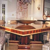 Dining Table, natural Nigerian satinwood, stained mahogany with high gloss, hand