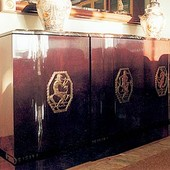 Buffet, freestanding: marble, antique decorative brass plates, stained mahogany