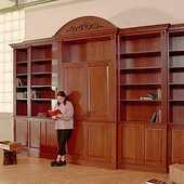 Bookcase/TV Cabinet, freestanding: stained cherry.