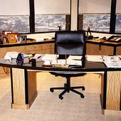 Desk and Credenza, free-standing and built-in: granite, anigre and black lacquer