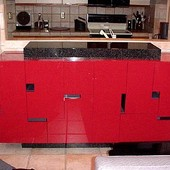 Bar, free-standing: granite, hand rubbed, high gloss lacquer.