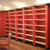 Bookcase:  Black and red lacquer and natural maple.