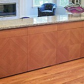 Buffet, built-in: granite, stained quarter-cut cherry with diamond pattern doors