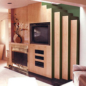 Entertainment Center and Fireplace Surround, built-in: natural birdseye maple an