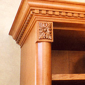 Entertainment Center (detail), freestanding: stained maple with antiqued effect.