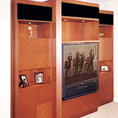 Entertainment Center, freestanding: natural cherry with diamond patterned doors.