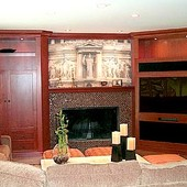 Entertainment Center and Mantle, built-in: stained cherry.
