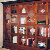 Bookcase:  Stained mahogany with black lacquer accents.