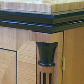 Stereo Cabinet, (detail): Ebonized and natural quarter slice Cherry, high gloss,