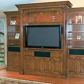Entertainment Center, freestanding: stained and glazed maple.