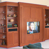 Entertainment Center, freestanding: stained cherry, (columns pull out for A/V so